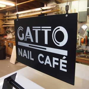 Vinyl graphics swing sign