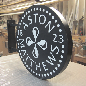 circular projected sign box