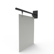 flat panel sign with straight pole wall bracket